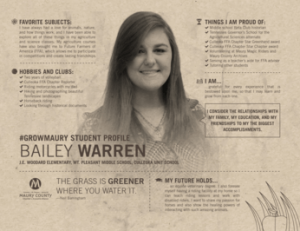 MCPS Student Spotlight Bailey Warren
