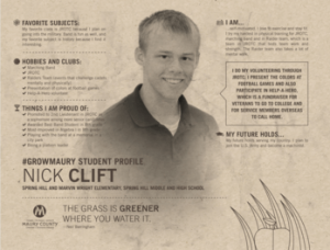 MCPS Student Spotlight NickClift